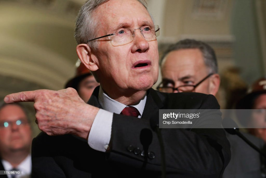Senate Majority Leader <a gi-track='captionPersonalityLinkClicked' href=/galleries/search?phrase=Harry+Reid+-+Politician&family=editorial&specificpeople=203136 ng-click='$event.stopPropagation()'>Harry Reid</a> (D-NV) talks to reporters after lawmakers failed to move the Transportation, Housing and Urban Development appropriations bill forward before the summer recess at the U.S. Capitol August 1, 2013 in Washington, DC. Senate Minority Leader Mitch McConnell (R-KY) was able to rally Senate Republicans to vote against cloture, saying the move was 'symbolic significance' for the upcoming autum budget fight.