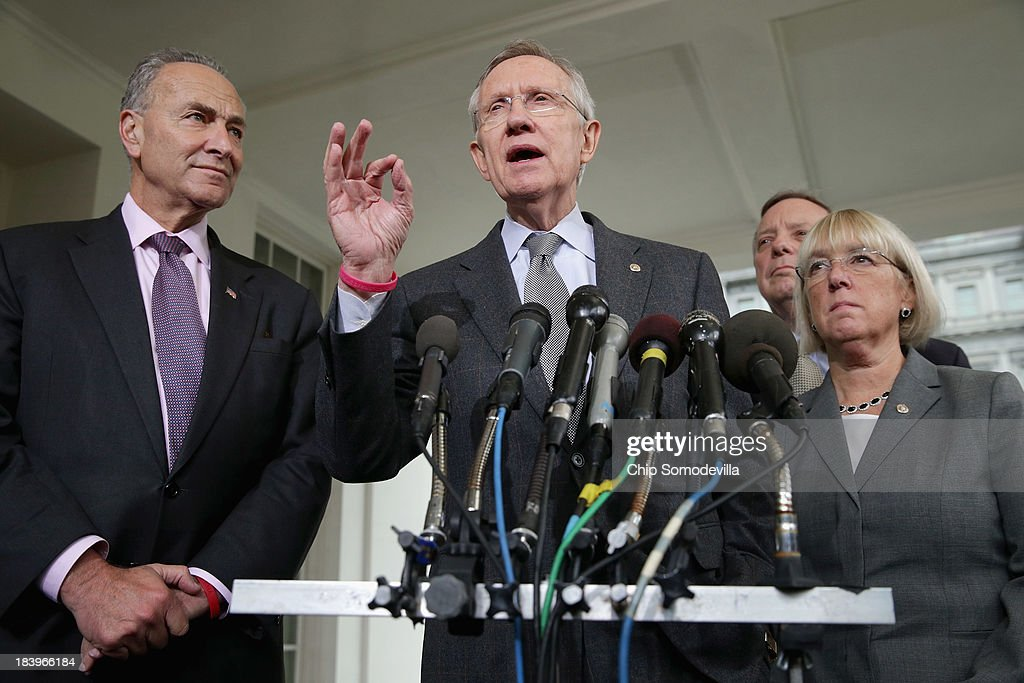 Senate Majority Leader <a gi-track='captionPersonalityLinkClicked' href=/galleries/search?phrase=Harry+Reid+-+Politician&family=editorial&specificpeople=203136 ng-click='$event.stopPropagation()'>Harry Reid</a> (D-NV) (C) talks to reporters with Sen. <a gi-track='captionPersonalityLinkClicked' href=/galleries/search?phrase=Charles+Schumer&family=editorial&specificpeople=171249 ng-click='$event.stopPropagation()'>Charles Schumer</a> (D-NY), Senate Majority Whip Richard Durbin (D-IL) and Sen. <a gi-track='captionPersonalityLinkClicked' href=/galleries/search?phrase=Patty+Murray&family=editorial&specificpeople=532963 ng-click='$event.stopPropagation()'>Patty Murray</a> (D-WA) after meeting with President Barack Obama at the White House October 10, 2013 in Washington, DC. The senators and the president discussed a proposal by House Republicans to temporarily raise the federal debit limit and begin negotiations on the budget. However, the White House may not agree to the plan because it does not address the measure passed by the Senate to finance and reopen the government.