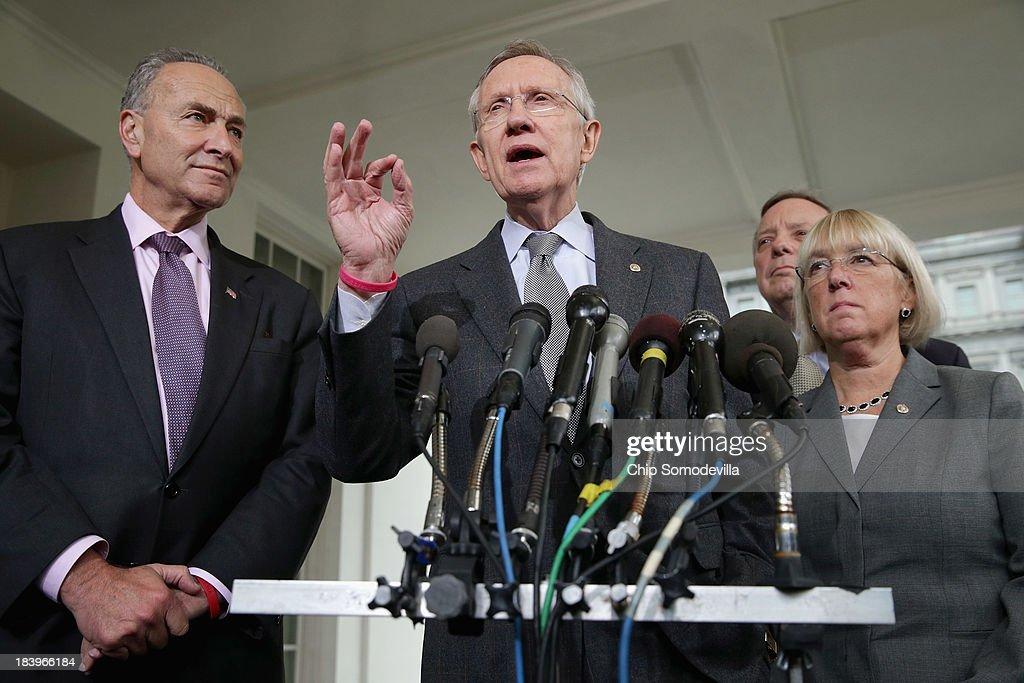 Senate Majority Leader Harry Reid talks to reporters with Sen Charles Schumer Senate Majority Whip Richard Durbin and Sen Patty Murray after meeting...