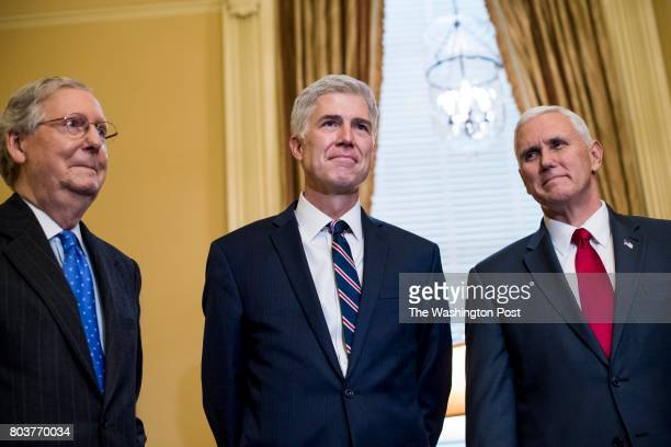 WASHINGTON DC Senate Majority Leader Mitch McConnell and Vice President Mike Pence along former Senate Kelly Ayotte meet with President Donald...