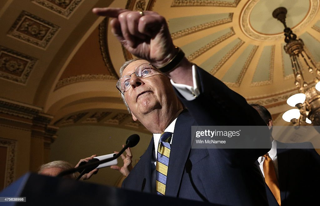 Senate Majority Leader <a gi-track='captionPersonalityLinkClicked' href=/galleries/search?phrase=Mitch+McConnell&family=editorial&specificpeople=217985 ng-click='$event.stopPropagation()'>Mitch McConnell</a> (R-KY) answers questions at the U.S. Capitol June 2, 2015 in Washington, DC. McConnell spoke following the weekly Republican caucus policy luncheon.