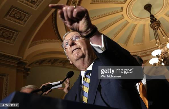 Senate Majority Leader Mitch McConnell answers questions at the US Capitol June 2 2015 in Washington DC McConnell spoke following the weekly...