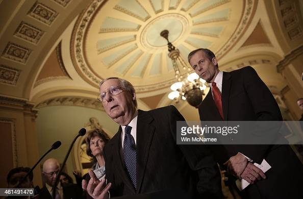 Senate Majority Leader Mitch McConnell answers questions following a weekly policy luncheon with Senate Republicans at the US Capitol January 13 2015...