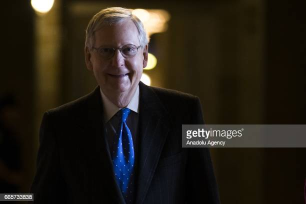 Senate Majority Leader Mitch McConnell arrives at the US Capitol in the morning of the Senate's vote to confirm USSupreme Court nominee Neil Gorsuch...