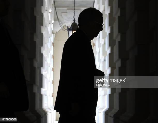 Senate Majority Leader Mitch McConnell arrives at the US Capitol on July 18 2017 in Washington DC Leader McConnell is slowly losing support for his...