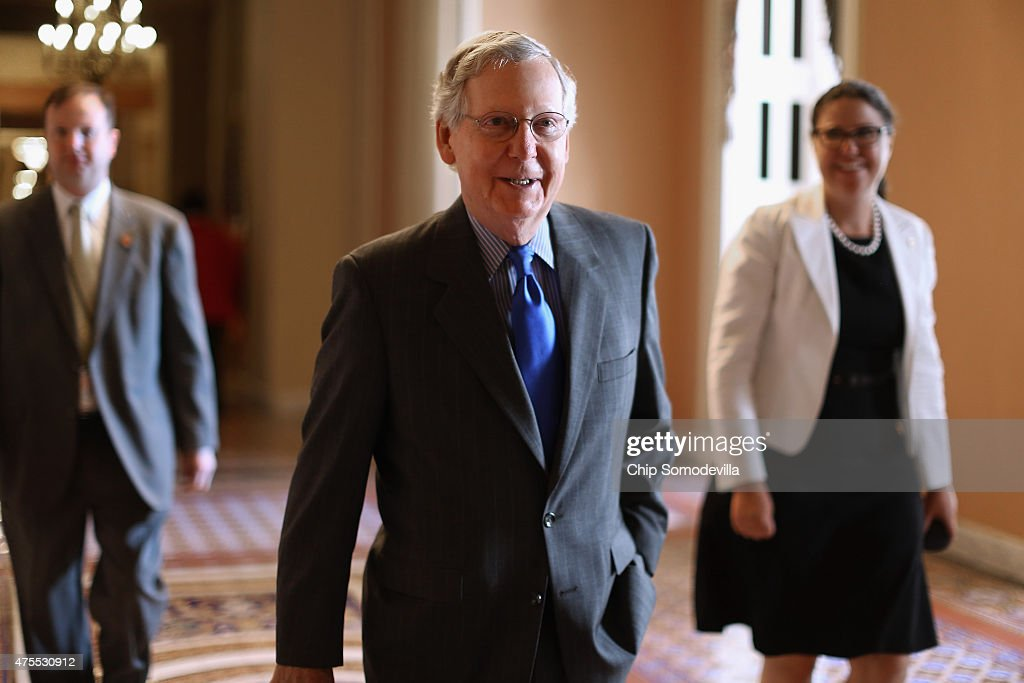 Senate Majority Leader <a gi-track='captionPersonalityLinkClicked' href=/galleries/search?phrase=Mitch+McConnell&family=editorial&specificpeople=217985 ng-click='$event.stopPropagation()'>Mitch McConnell</a> (R-KY) heads to the Senate Chamber at the U.S. Capitol June 1, 2015 in Washington, DC. In protest of the National Security Agency's sweeping program to collect U.S. citizens' telephone metadata, U.S. Sen. Rand Paul (R-KY) blocked an extension of some parts of the USA PATRIOT Act, allowing them to lapse at 12:01 a.m. Monday. The Senate will continue to work to restore the lapsed authorities by amending a House version of the bill and getting it to President Obama later this week.