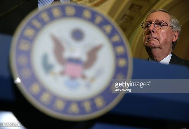 S Senate Majority Leader Mitch McConnell listens during a media briefing after the Republican weekly policy luncheon January 20 2016 on Capitol Hill...