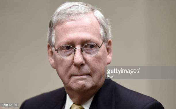 Senate Majority Leader Mitch McConnell listens during a meeting with President Donald Trump in the Roosevelt Room of the White House on June 6 2017...