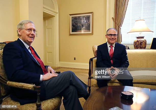 Senate Majority Leader Mitch McConnell meets with Oklahoma Attorney General and Presidentelect Donald Trump's nominee to head the Environmental...
