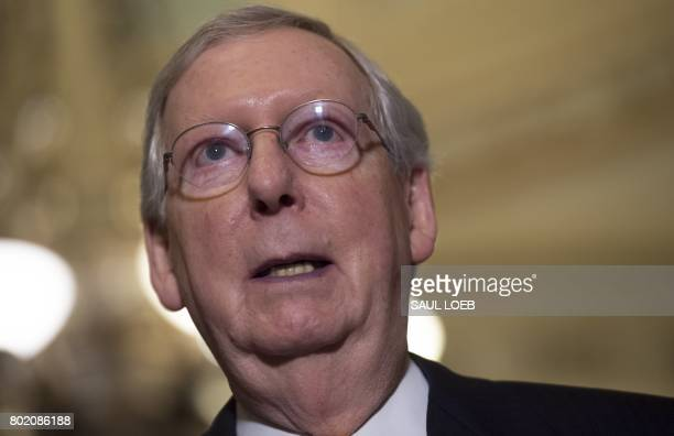 US Senate Majority Leader Mitch McConnell Republican of Kentucky speaks about the Senate Republican's healthcare bill at the US Capitol in Washington...