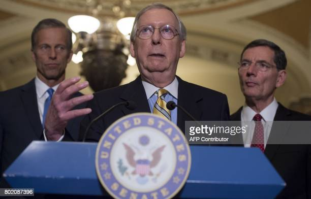 US Senate Majority Leader Mitch McConnell Republican of Kentucky speaks about the Senate Republican's healthcare bill alongside US Senator John Thune...