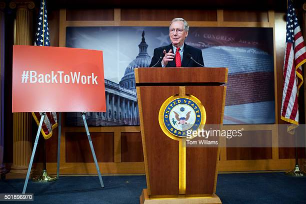 Senate Majority Leader Mitch McConnell RKy conducts a news conference in the Capitol after Congress passed the omnibus spending bill December 18 2015