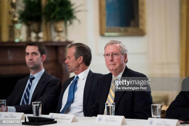 Senate Majority Leader Mitch McConnell RKy sits before President Donald Trump arrives for a meeting with Republican senators about health care in the...