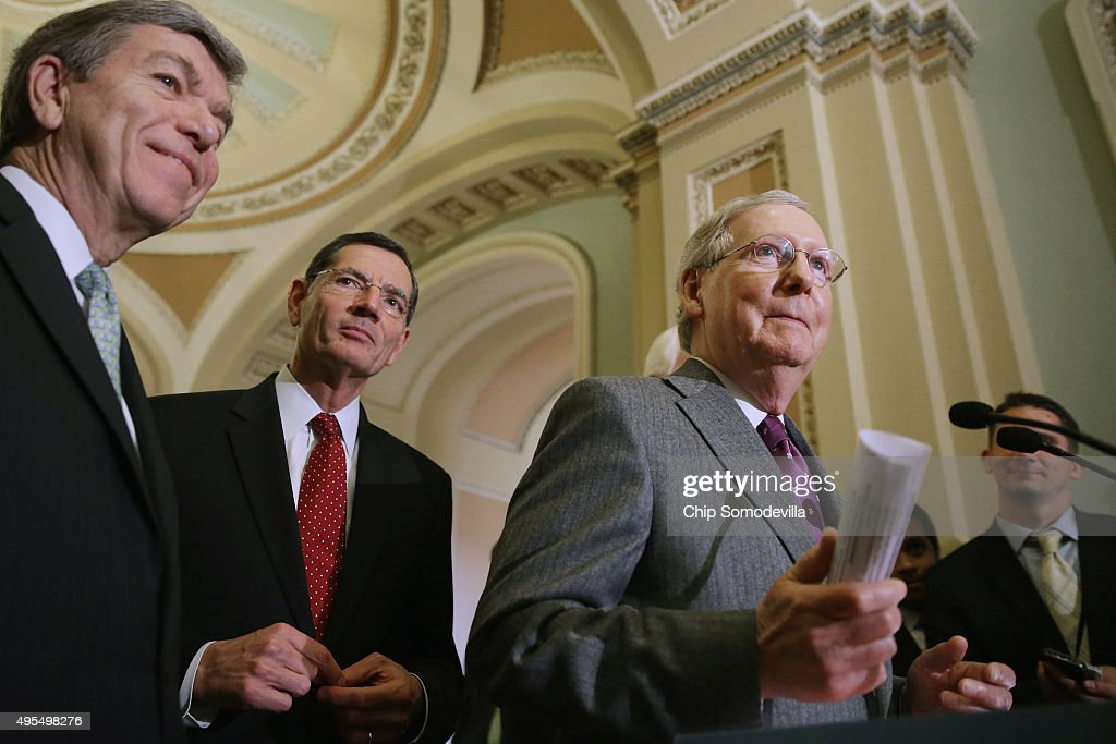 Senate Majority Leader Mitch McConnell Sen Roy Blunt and Sen John Barrasso talk to reporters following the weekly Senate GOP policy luncheon in the...