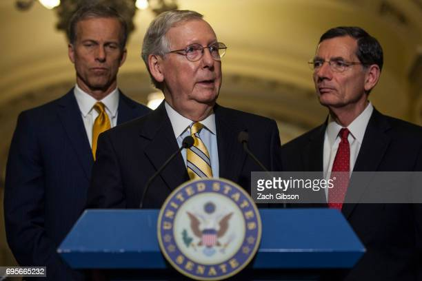 Senate Majority Leader Mitch McConnell speaks during a weekly press conference following a policy luncheon on Capitol Hill on June 13 2017 in...