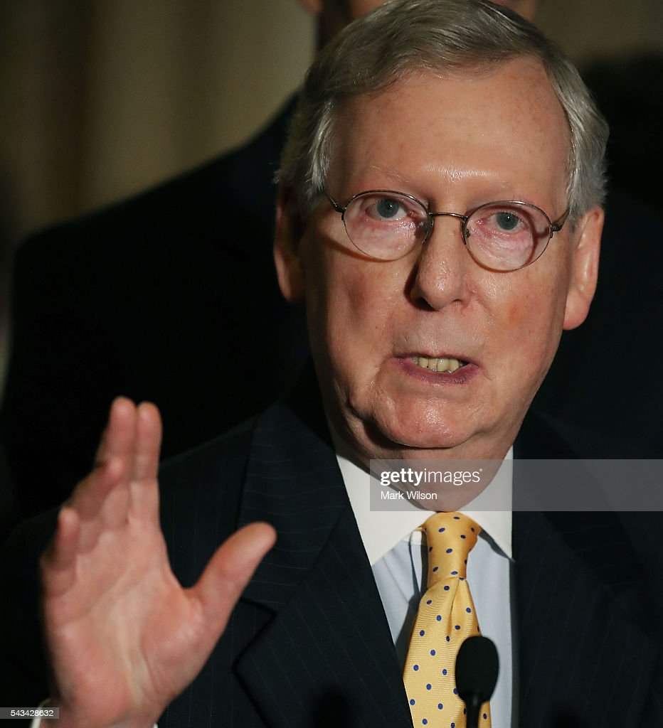 Senate Majority Leader Mitch McConnell (R-KY), speaks to reporters on Capitol Hill, June 28, 2016 in Washington, DC. The Senate lawmakers addressed the press affter their weekly policy luncheons.