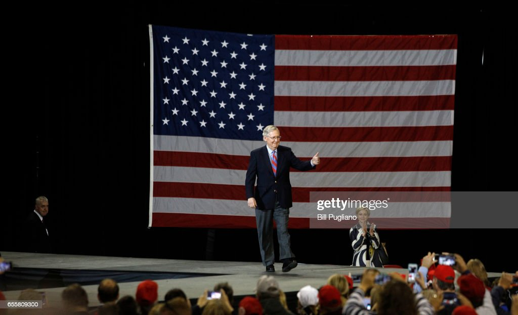 Senate Majority Leader Mitch McConnell (R-KY) walks on stage at a rally before the entrance of President Donald Trump in Freedom Hall at the Kentucky Exposition Center March 20th, 2017 in Louisville, Kentucky.