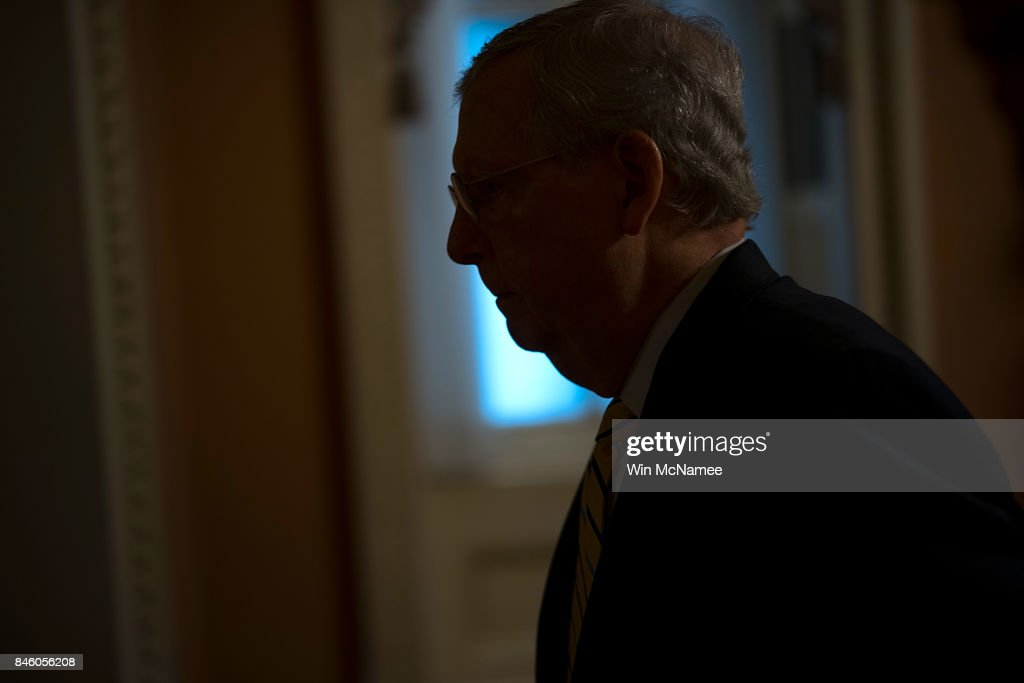 Senate Majority Leader Mitch McConnell walks to his office in the U.S. Capitol September 12, 2017 in Washington, DC. McConnell is scheduled to meet later today on budgetary matters with U.S. Treasury Secretary Steven Mnuchin and Director of the National Economic Council Gary Cohn.