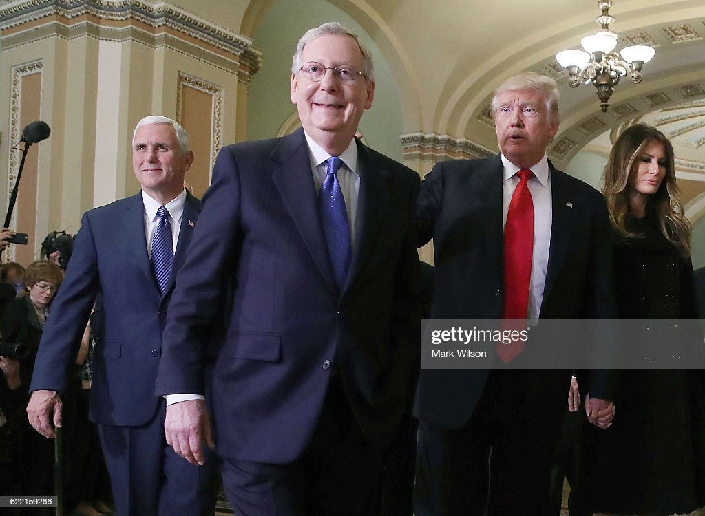 Mitch McConnell Meets With Trump And Pence On Capitol Hill