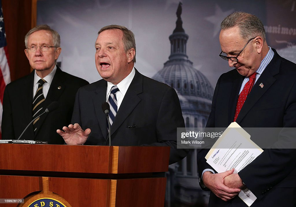 Senate Majority Leader Sen. <a gi-track='captionPersonalityLinkClicked' href=/galleries/search?phrase=Harry+Reid+-+Politician&family=editorial&specificpeople=203136 ng-click='$event.stopPropagation()'>Harry Reid</a> (D-NV), Sen. Richard Durbin (D-IL) and Sen. Chuck Schumer (D-NY) participate in a news conference on the debt ceiling, on January 23, 2013 in Washington, DC. The Senate Democrats discussed the House's scheduled vote on suspending the debt ceiling.