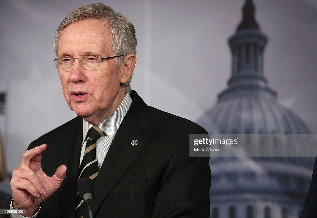 Senate Majority Leader Sen. <a gi-track='captionPersonalityLinkClicked' href=/galleries/search?phrase=Harry+Reid+-+Politician&family=editorial&specificpeople=203136 ng-click='$event.stopPropagation()'>Harry Reid</a> (D-NV) speaks about the debt ceiling, on January 23, 2013 in Washington, DC. The Senate Democrats discussed the House's scheduled vote on suspending the debt ceiling.