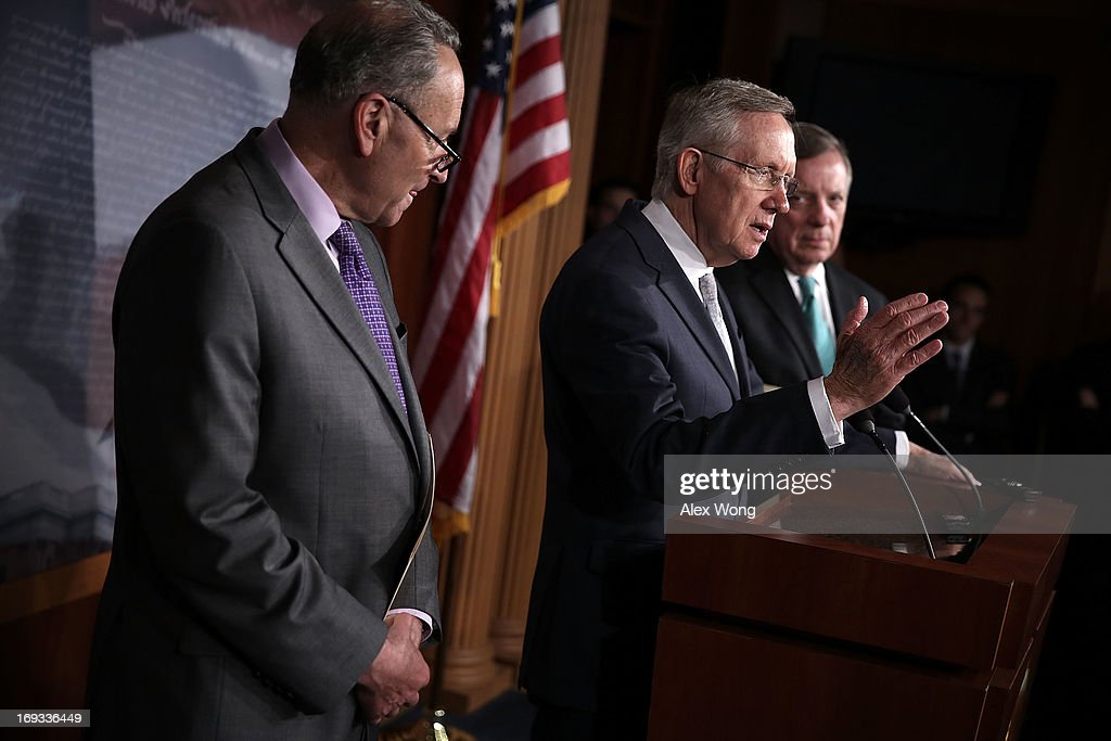 U.S. Senate Majority Leader Sen. <a gi-track='captionPersonalityLinkClicked' href=/galleries/search?phrase=Harry+Reid+-+Politician&family=editorial&specificpeople=203136 ng-click='$event.stopPropagation()'>Harry Reid</a> (D-NV) (2nd L) speaks as Senate Majority Whip U.S. Sen. Richard Durbin (D-IL) (R), and U.S. Sen. <a gi-track='captionPersonalityLinkClicked' href=/galleries/search?phrase=Charles+Schumer&family=editorial&specificpeople=171249 ng-click='$event.stopPropagation()'>Charles Schumer</a> (D-NY) (L) listen during a news conference May 23, 2013 on Capitol Hill in Washington, DC. The Senate Democratic leadership held a news conference to highlight the continued obstruction by Senate Republicans of President Obama's executive and judicial nominees.