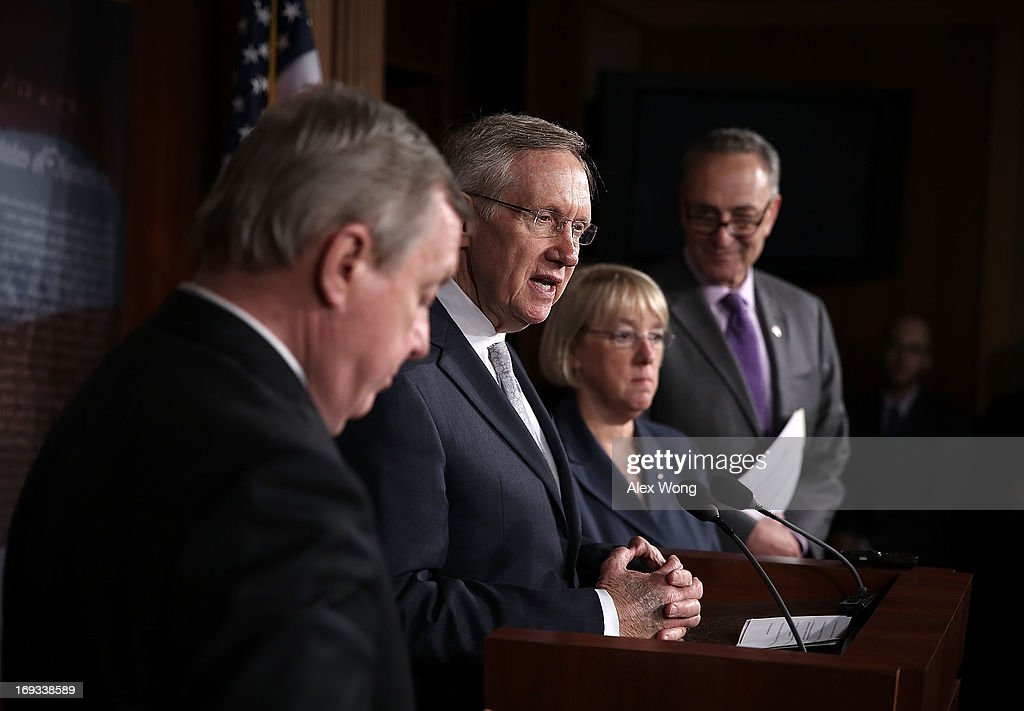 U.S. Senate Majority Leader Sen. <a gi-track='captionPersonalityLinkClicked' href=/galleries/search?phrase=Harry+Reid+-+Politician&family=editorial&specificpeople=203136 ng-click='$event.stopPropagation()'>Harry Reid</a> (D-NV) (2nd L) speaks as Senate Majority Whip Sen. Richard Durbin (D-IL) (L), Sen. <a gi-track='captionPersonalityLinkClicked' href=/galleries/search?phrase=Charles+Schumer&family=editorial&specificpeople=171249 ng-click='$event.stopPropagation()'>Charles Schumer</a> (D-NY) (R) and Sen. <a gi-track='captionPersonalityLinkClicked' href=/galleries/search?phrase=Patty+Murray&family=editorial&specificpeople=532963 ng-click='$event.stopPropagation()'>Patty Murray</a> (D-WA) (2nd L) listen during a news conference May 23, 2013 on Capitol Hill in Washington, DC. The Senate Democratic leadership held a news conference to highlight the continued obstruction by Senate Republicans of President Obama's executive and judicial nominees.