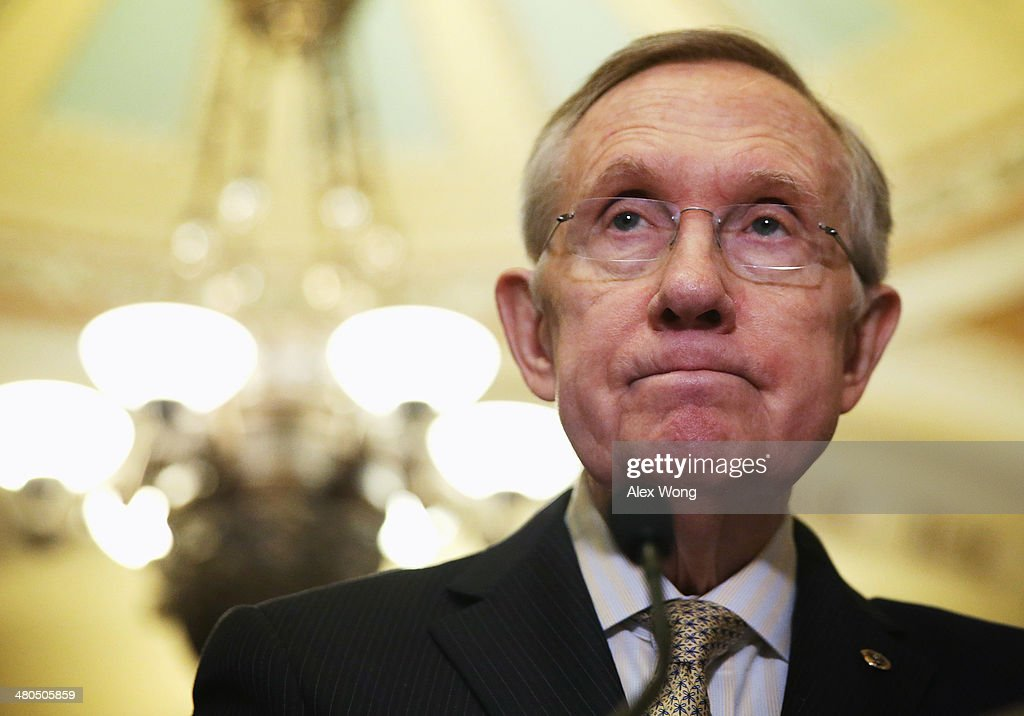 U.S. Senate Majority Leader Sen. <a gi-track='captionPersonalityLinkClicked' href=/galleries/search?phrase=Harry+Reid&family=editorial&specificpeople=203136 ng-click='$event.stopPropagation()'>Harry Reid</a> (D-NV) speaks during a briefing after the weekly Senate Democratic Policy Committee luncheon March 25, 2014 at the Capitol in Washington, DC. Reid discussed the Ukraine Aid Bill with members of the media during the briefing.