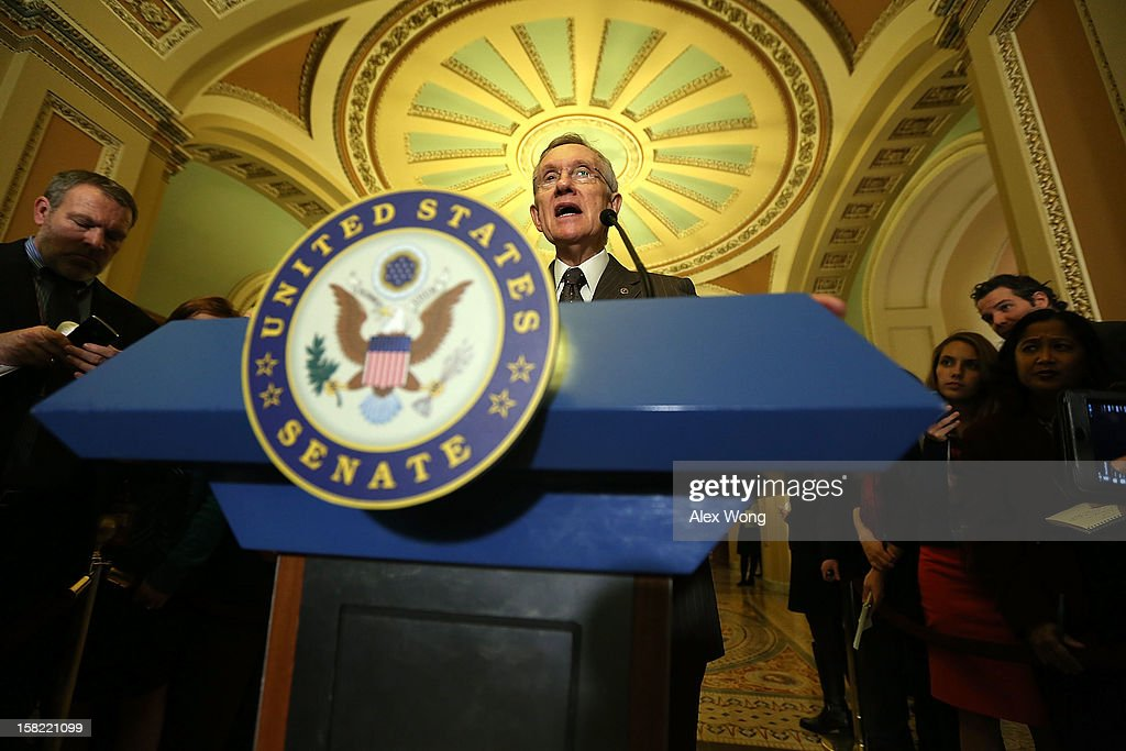 U.S. Senate Majority Leader Sen. <a gi-track='captionPersonalityLinkClicked' href=/galleries/search?phrase=Harry+Reid+-+Politician&family=editorial&specificpeople=203136 ng-click='$event.stopPropagation()'>Harry Reid</a> (D-NV) speaks to members of the media during a news briefing after the weekly Senate Democratic Policy Luncheon December 11, 2012 on Capitol Hill in Washington, DC. Reid discussed various topics with the media including the 'fiscal cliff' issue.