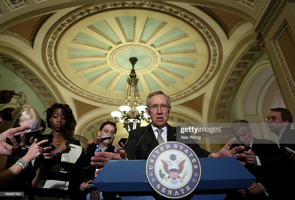 U.S. Senate Majority Leader Sen. <a gi-track='captionPersonalityLinkClicked' href=/galleries/search?phrase=Harry+Reid+-+Pol%C3%ADtico&family=editorial&specificpeople=203136 ng-click='$event.stopPropagation()'>Harry Reid</a> (D-NV) speaks to members of the media after a meeting with President Barack Obama March 12, 2013 on Capitol Hill in Washington, DC. President Obama traveled to Capitol Hill and had a meeting meet with the Senate Democratic Caucus.