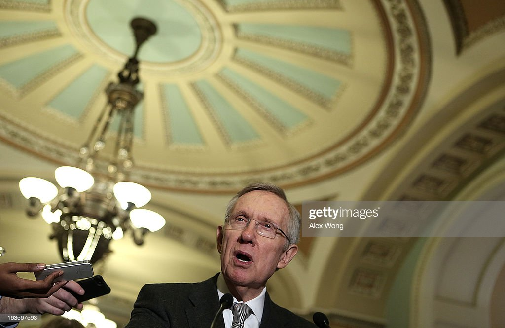 U.S. Senate Majority Leader Sen. Harry Reid (D-NV) speaks to members of the media after a meeting with President Barack Obama March 12, 2013 on Capitol Hill in Washington, DC. President Obama traveled to Capitol Hill and had a meeting meet with the Senate Democratic Caucus.