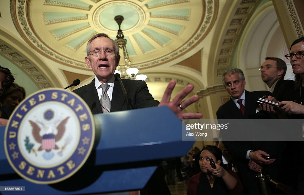 U.S. Senate Majority Leader Sen. <a gi-track='captionPersonalityLinkClicked' href=/galleries/search?phrase=Harry+Reid+-+Politician&family=editorial&specificpeople=203136 ng-click='$event.stopPropagation()'>Harry Reid</a> (D-NV) speaks to members of the media after a meeting with President Barack Obama March 12, 2013 on Capitol Hill in Washington, DC. President Obama traveled to Capitol Hill and had a meeting meet with the Senate Democratic Caucus.