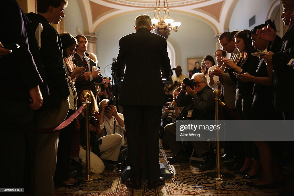 S Senate Majority Leader Sen Harry Reid speaks to members of the media after the Senate Democrats weekly policy luncheon September 9 2014 on Capitol...