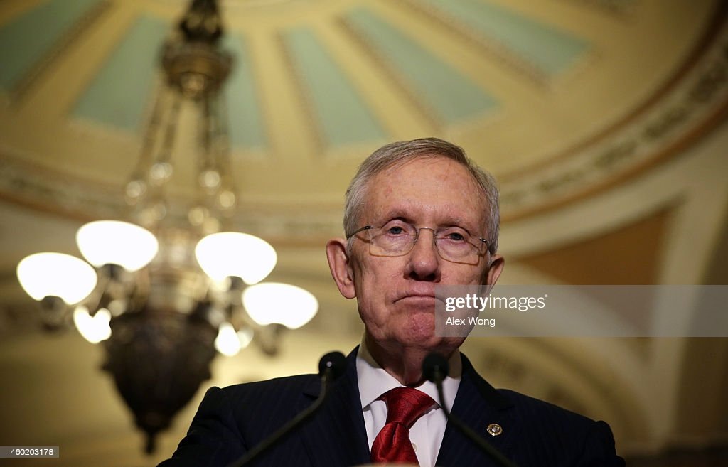 U.S. Senate Majority Leader Sen. <a gi-track='captionPersonalityLinkClicked' href=/galleries/search?phrase=Harry+Reid&family=editorial&specificpeople=203136 ng-click='$event.stopPropagation()'>Harry Reid</a> (D-NV) speaks to members of the media after the Senate Democratic Policy Luncheon at the Capitol December 9, 2014 on Capitol Hill in Washington, DC. Senator Reid responded to a report on CIA's use of torture conducted by the Senate Intelligence Committee where were released today.