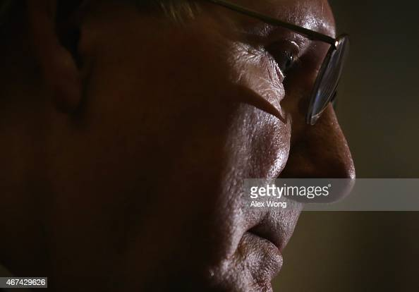 S Senate Majority Leader Sen Mitch McConnell listens during a news briefing after the weekly Republican Policy Luncheon March 24 2015 at the US...