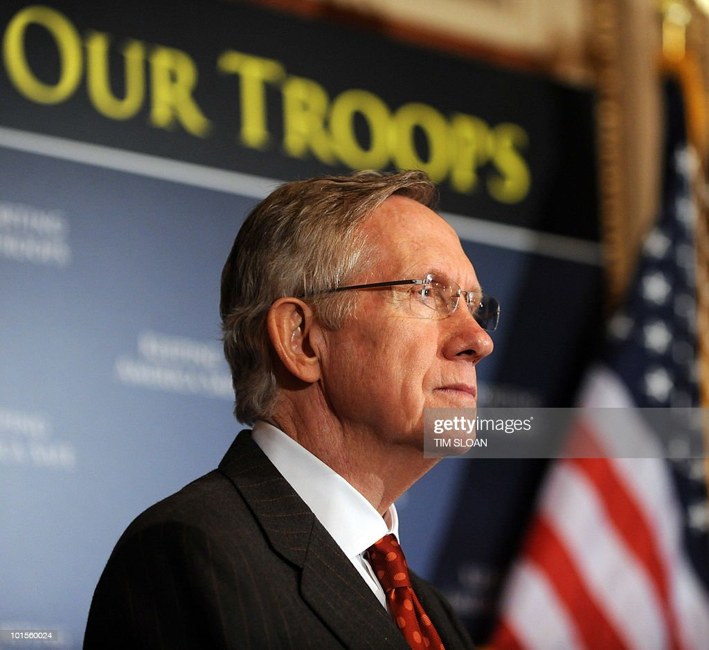 US Senate Majority Leader, Senator Harry Reid holds a press conference to demand Republican Senators to 'stop playing politics and support our troops' on May 26, 2010 in Washington, DC. Democrats want Republicans to vote for a supplemental bill to fund the wars in Iraq and Afghanistan. AFP PHOTO / Tim Sloan