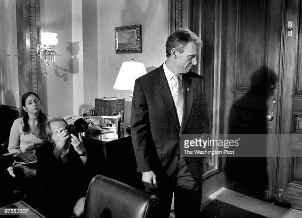 Senate Majority Leader Thomas A Daschle leaves a news briefing on Capitol Hill in his office following his impassioned Senate Floor speech where he...