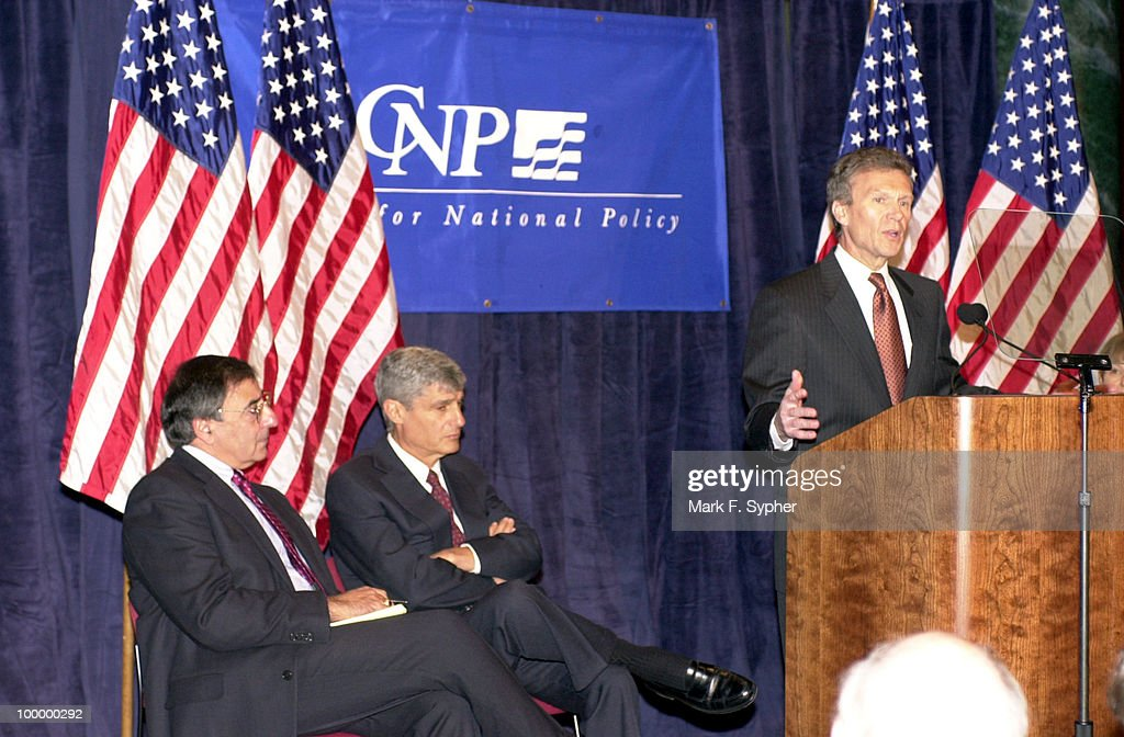 Senate Majority Leader Thomas Daschle (D) gave his 'America's Economy: Rising To Our New Challenges' speech on Friday at the Center for National Policy. Seated (from left) are former Clinton Chief of Staff Leon E. Panetta and Former Treasury Secretary Robert Rubin.