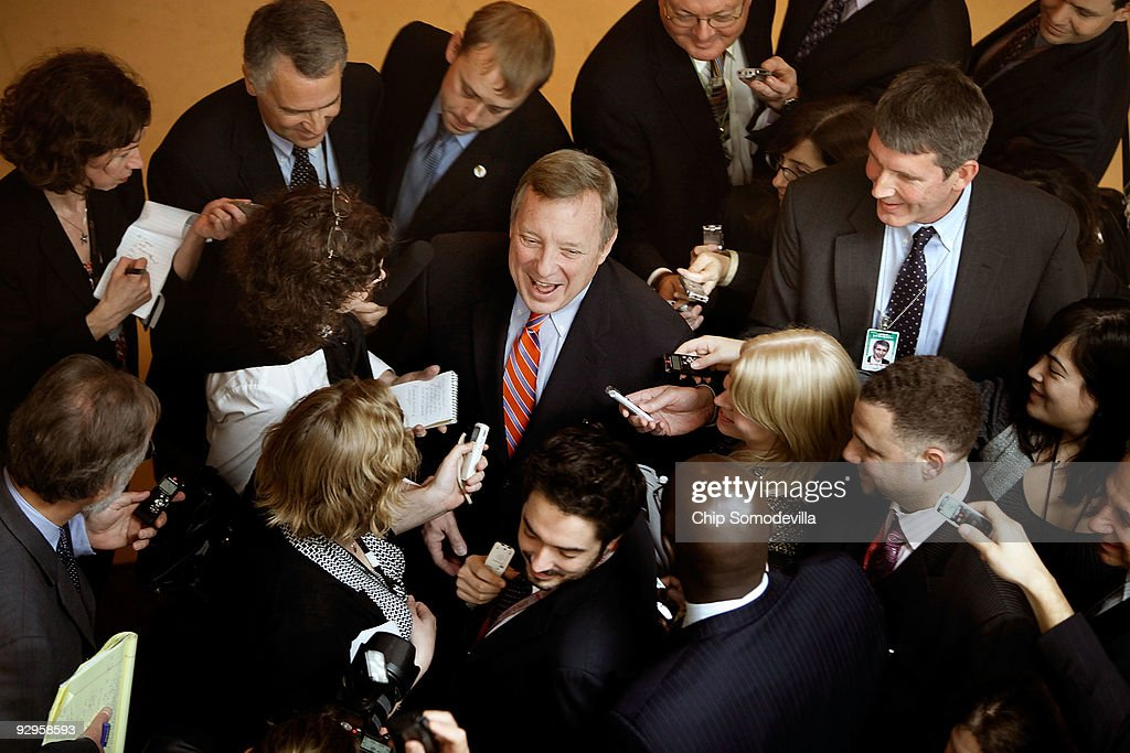Senate Majority Whip Dick Durbin talks to reporters after a news conference about Democratic efforts to pass an omnibus veterans� health bill at the...
