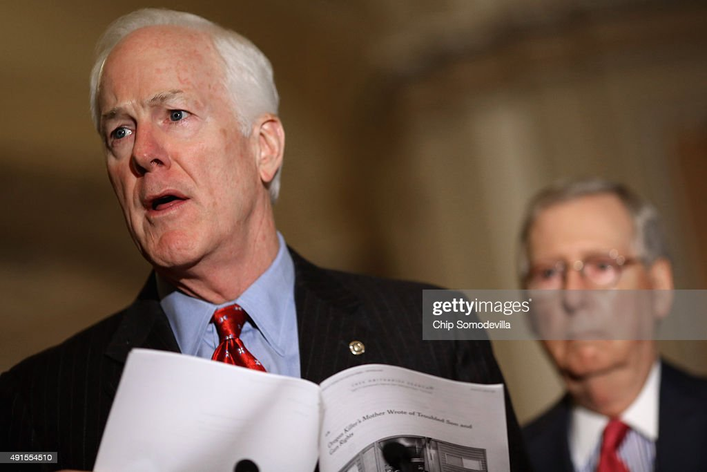 Senate Majority Whip John Cornyn and Majority Leader Mitch McConnell talk to reporters after the weekly Republican policy luncheon at the US Capitol...