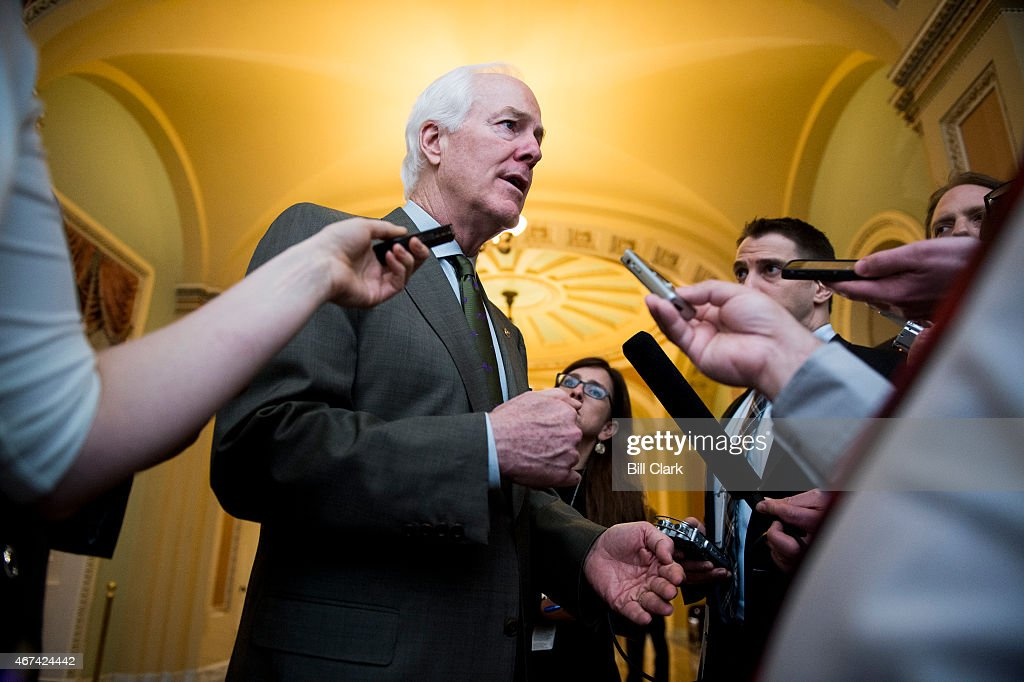 Senate Majority Whip John Cornyn RTexas speaks with reporters as he arrives for the Senate Republicans' policy lunch on Tuesday March 24 2015