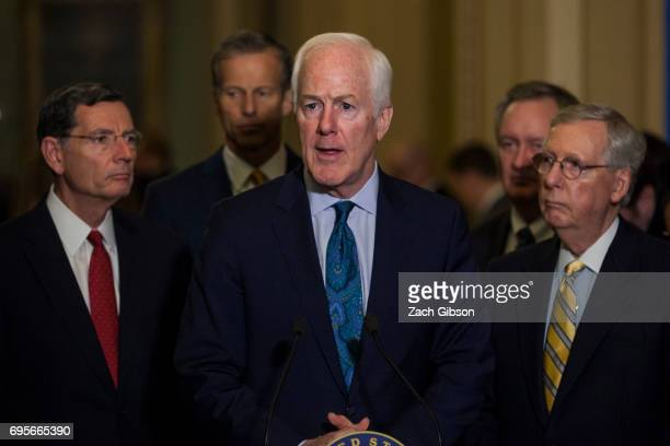 Senate Majority Whip John Cornyn speaks during a weekly press conference following a policy luncheon on Capitol Hill on June 13 2017 in Washington DC