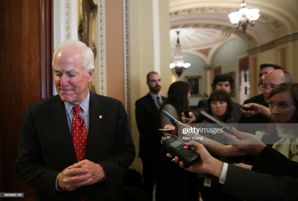 U.S. Senate Majority Whip Sen. John Cornyn (R-TX) speaks to members of the media at the Capitol December 1, 2017 in Washington, DC. Senate GOPs indicate that they have enough votes to pass the tax reform bill.