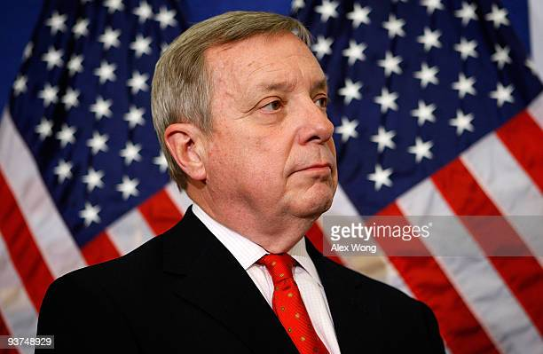 S Senate Majority Whip Sen Richard Durbin listens during a news conference on Capitol Hill December 3 2009 in Washington DC The Democratic Senate...