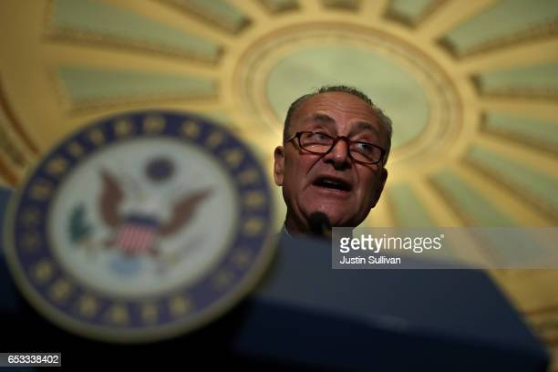 Senate Minority Leader Charles Schumer speaks during a news conference on Capitol Hill on March 14 2017 in Washington DC Republican and Democratic...