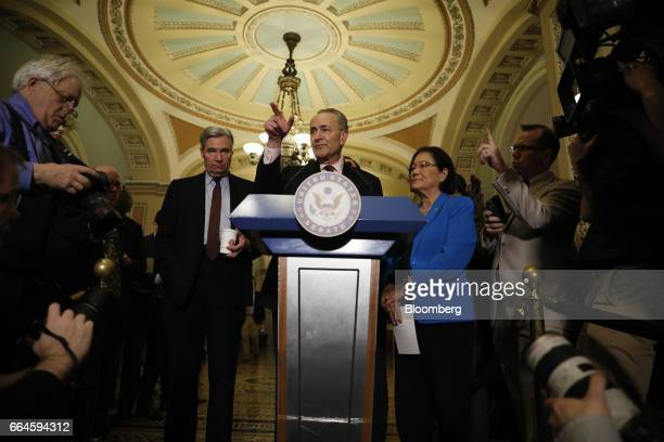 Senate Minority Leader Chuck Schumer a Democrat from New York center speaks during a news conference after a Senate Democratic luncheon at the US...
