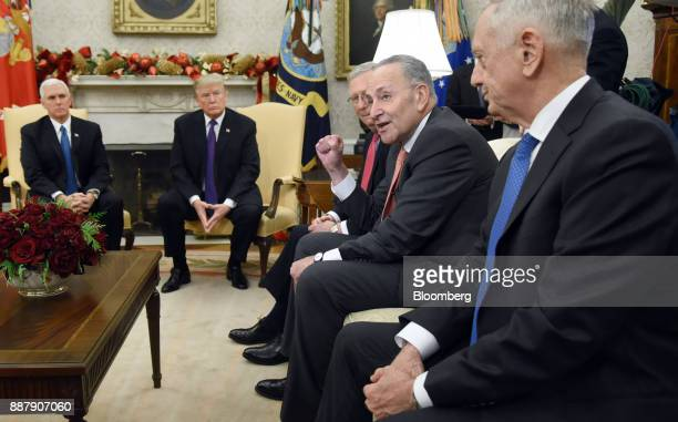 Senate Minority Leader Chuck Schumer a Democrat from New York center right speaks as US Vice President Mike Pence from left US President Donald Trump...