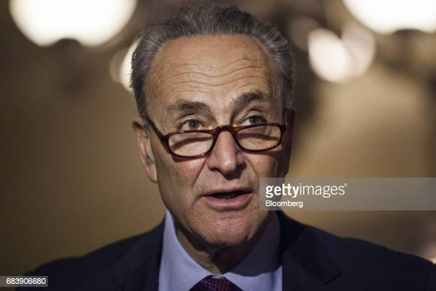 Senate Minority Leader Chuck Schumer a Democrat from New York speaks during a news conference following a Senate Democratic luncheon in Washington DC...
