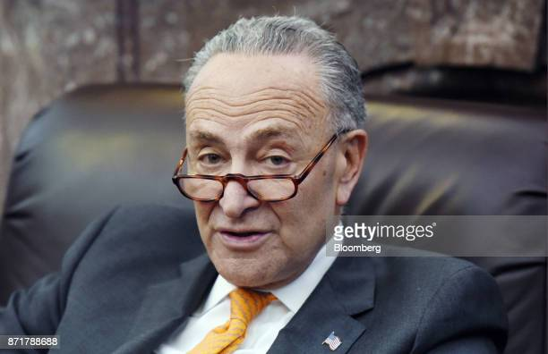 Senate Minority Leader Chuck Schumer a Democrat from New York speaks during a meeting on tax reform and election results at the US Capitol in...