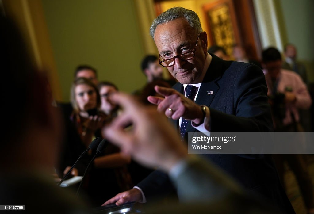 U.S. Senate Minority Leader Chuck Schumer (D-NY) answers questions at the U.S. Capitol on September 12, 2017 in Washington, DC. Schumer answered a range of questions relating to the upcoming Senate agenda during the press conference.
